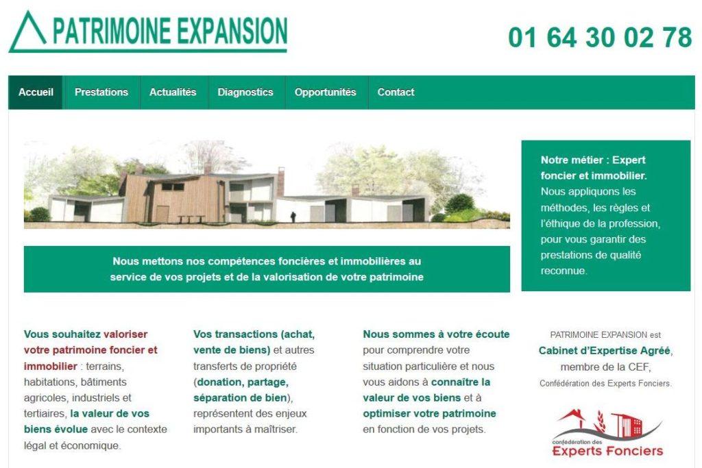 Site web Patrimoine Expansion, expert foncier et immobilier