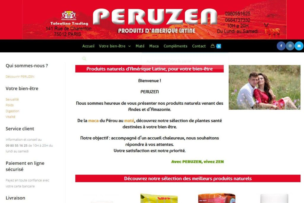 Site web peruzen, vente en ligne de produits d'Amérique Latine